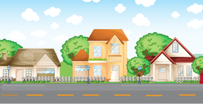 3 cartoon style houses along a road with trees, a blue sky, and puffy clouds