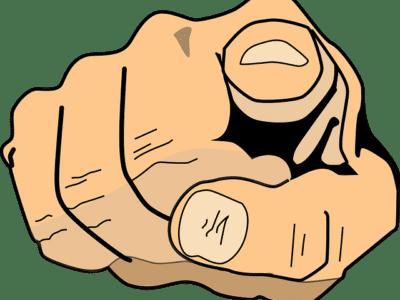 finger pointing toward reader