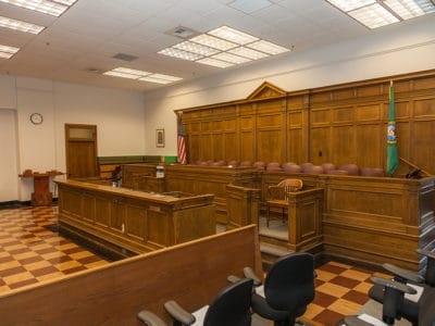Empty courtroom focusing on jurors panel